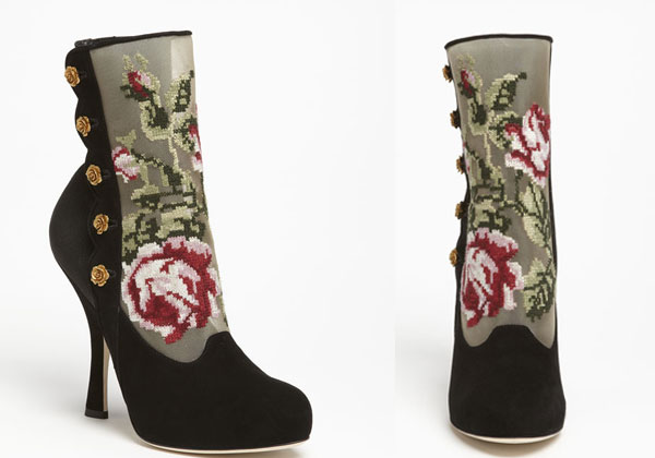 Dolce & Gabbana Tapestry Suede Bootie on stylealchemy