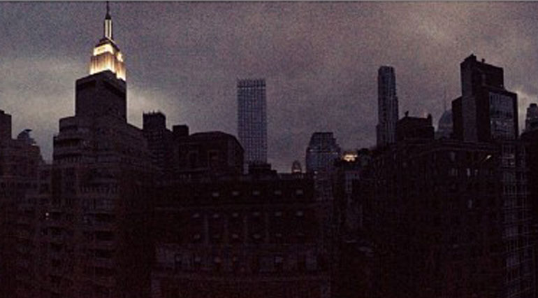 Panoramic View of Darkened NYC skyline © Liz Eswein